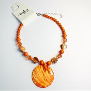 STUDIO | Orange Beaded w/ :Circle pendant necklace